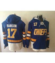 charlestown chiefs #17 hanson brother hockey pullover hoodie