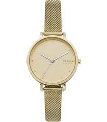 skagen women's hagen gold-tone stainless steel mesh bracelet watch 34mm