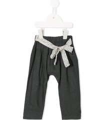 yellowsub scarf belted trousers - grey