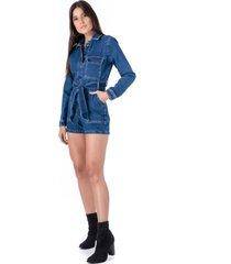 macaquinho jeans pkd  utilitã¡rio - azul - feminino - dafiti