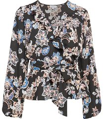 q & a women's puff-sleeve floral wrap top - black multi - size s