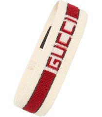 gucci logo stripe headband, size medium - ivory