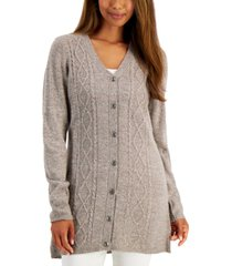 karen scott cotton cable-knit cardigan, created for macy's
