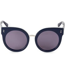 stella mccartney women's 52mm round sunglasses - blue
