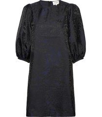 this dress is made in an elegant polyester jacquard quality korte jurk zwart second female