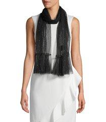 saachi women's embellished mesh scarf - black