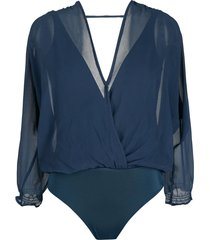 brigitte silk wrap bodysuit - blue