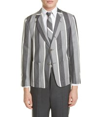 men's thom browne stripe wool & cotton jacket, size - (nordstrom exclusive)