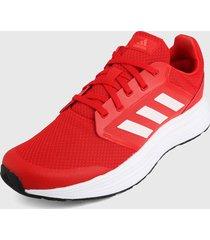tenis running rojo-blanco adidas performance galaxy 5
