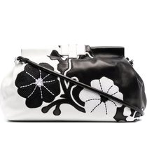 ermanno scervino black and ivory clutch with embroidered floral inlays