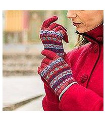 100% alpaca knit gloves, 'andean appeal' (peru)
