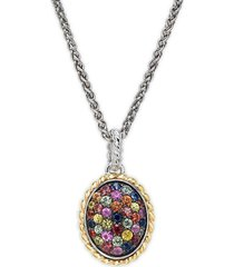 effy women's 18k yellow gold, sterling silver, & multicolored sapphire pendant necklace
