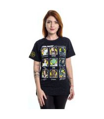 camiseta star wars saga personagens preto