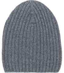 barrie ribbed-knit cashmere beanie - grey