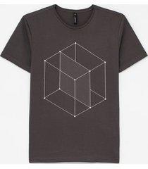camiseta slim estampa cubo geométrico