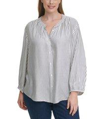 tommy hilfiger plus size striped peasant blouse