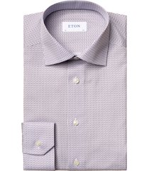 men's big & tall eton contemporary fit paisley dress shirt, size 18.5 - purple