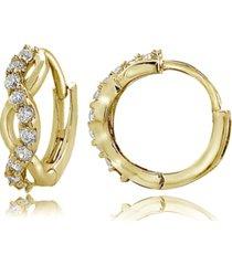 cubic zirconia wrap huggie hoop earrings in 18k gold plated sterling silver