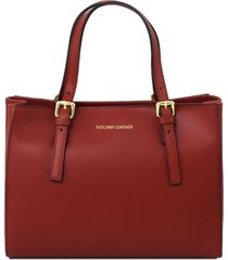 tuscany leather tl141434 aura - borsa a mano in pelle rosso