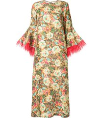 bambah camelia feather trim kaftan dress - multicolour