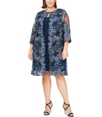 alex evenings plus size embroidered jacket dress