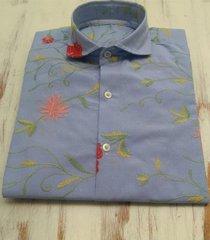 camisa celeste el bandido flores