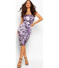 satijnen marmerprint midi jurk met ruches met franjes, purple