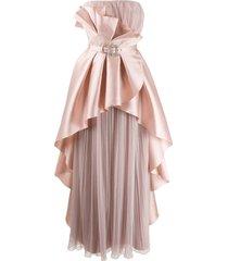 alberta ferretti ruffled bustier dress - pink
