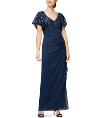 alex evenings petite embroidered-sequin empire-waist gown
