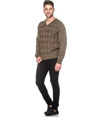 suéter passion tricot lk losango brown