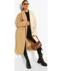 contrasterende colourblock nepwollen jas