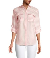 stellah women's striped long-sleeve shirt - toffee - size m