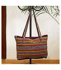 leather accented wool shoulder bag, 'sophisticated stripes' (mexico)