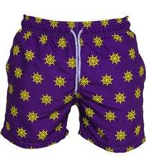 pantaloneta de baño morada regata beachwear timones morada