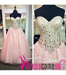 2015 ball gown sweetheart sleeveless pearl pink tulle long quinceanera dresses