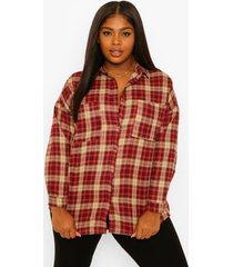 plus geruite oversized boyfriend blouse, berry