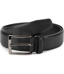 boss hugo boss men's textured leather belt - black - size 36