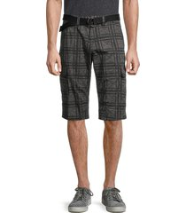 projek raw men's plaid cargo shorts - black - size 32