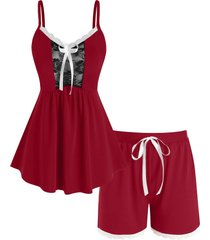 plus size lace insert bowknot cami pajamas set