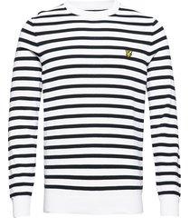 breton stripe jumper stickad tröja m. rund krage vit lyle & scott