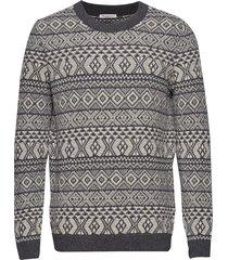 two colored jacquard o-neck knit - gebreide trui met ronde kraag grijs knowledge cotton apparel
