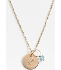 nashelle 14k-gold fill & semiprecious birthstone zodiac mini disc necklace in sagittarius at nordstrom