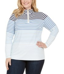 charter club plus size striped zip-neck top, created for macy's