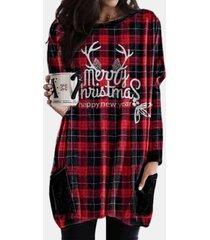 camicetta casual da donna con scollo a maniche lunghe con stampa scozzese natalizia