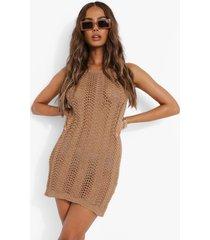 gehaakte mini jurk met halter neck, camel