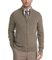 joseph abboud tan full zip cardigan sweater