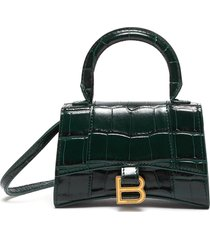 'hourglass mini' croc-embossed leather shoulder bag