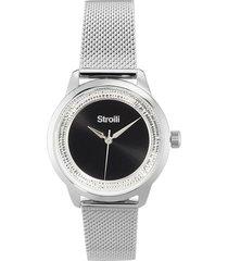 london - orologio da polso solo tempo con cassa in acciaio e strass e cinturino in acciaio a maglia milanese color silver e quadrante nero per donna