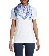 missoni women's chevron-print silk scarf - blue white