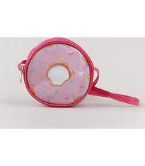 bolsa infantil donut redonda em verniz pink